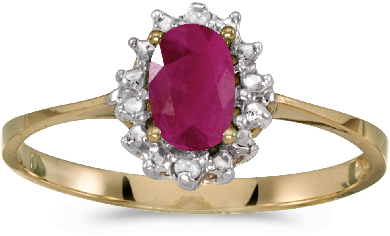 10k Yellow Gold Oval Ruby And Diamond Ring (CM-RM1342-07)