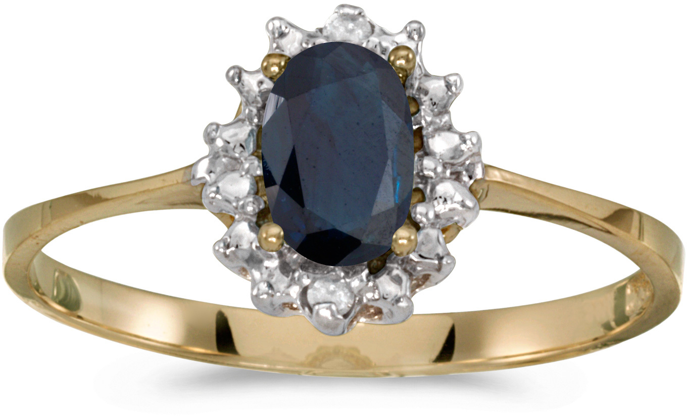 10k Yellow Gold Oval Sapphire And Diamond Ring (CM-RM1342-09)