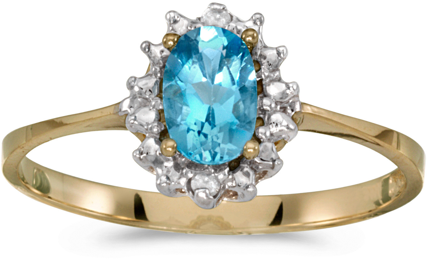 10k Yellow Gold Oval Blue Topaz And Diamond Ring (CM-RM1342-12)