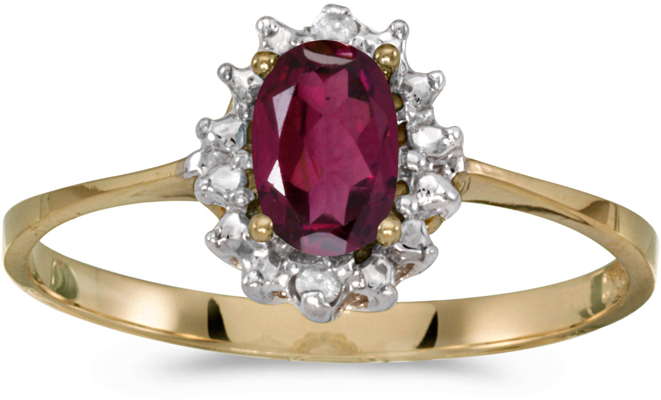 10k Yellow Gold Oval Rhodolite Garnet And Diamond Ring (CM-RM1342-RG)