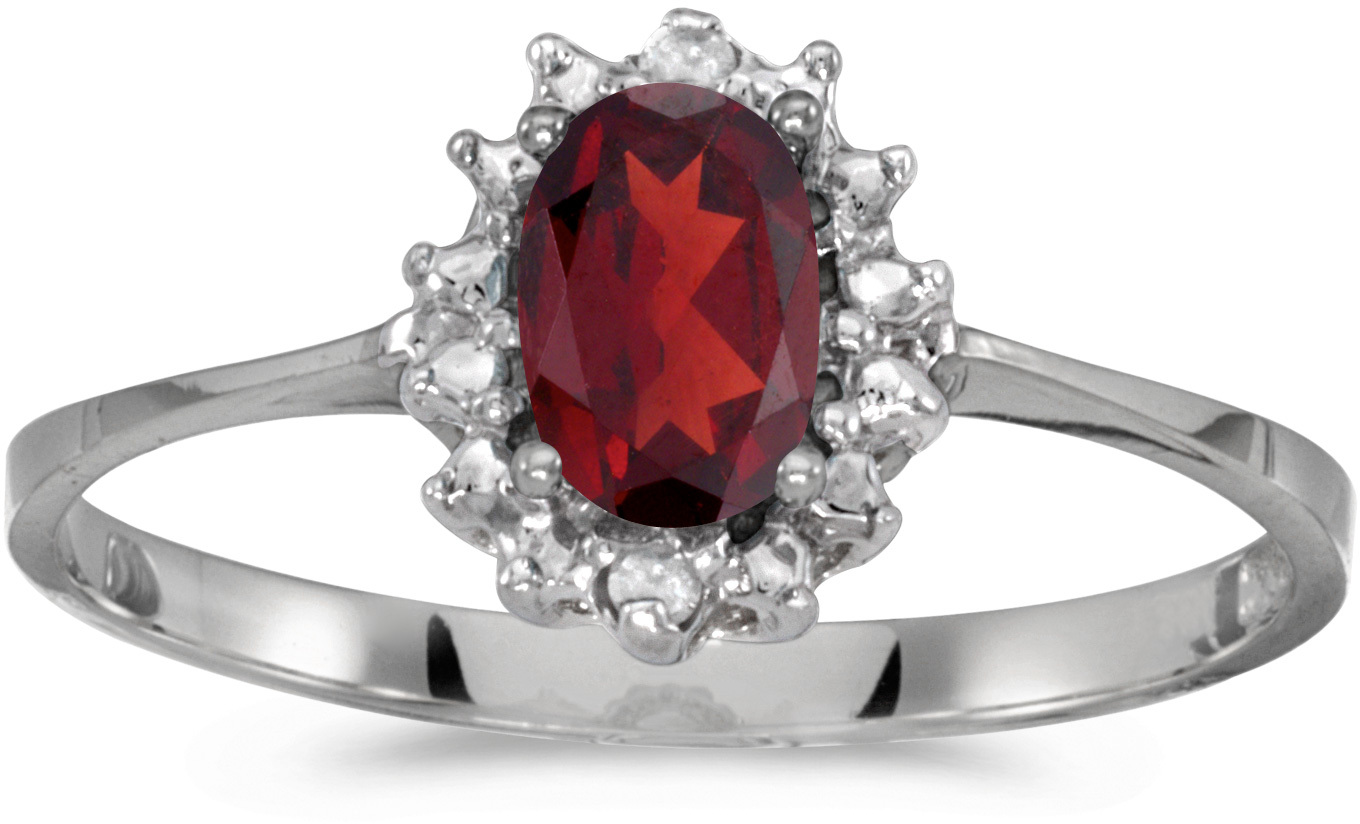 10k White Gold Oval Garnet And Diamond Ring (CM-RM1342W-01)