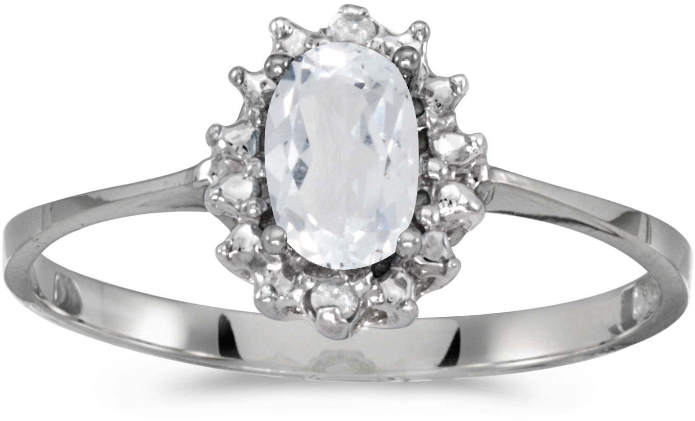 10k White Gold Oval White Topaz And Diamond Ring (CM-RM1342W-04)