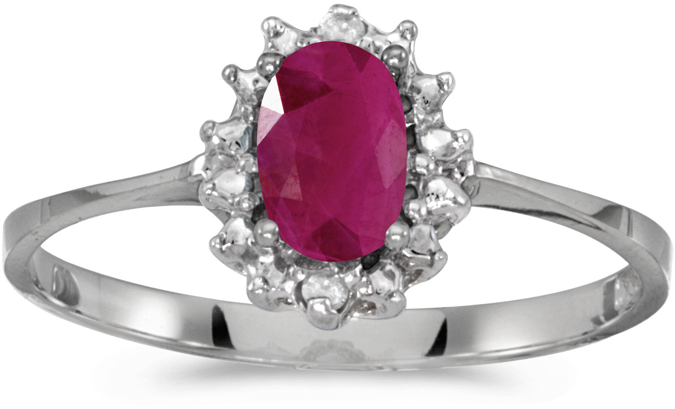 10k White Gold Oval Ruby And Diamond Ring (CM-RM1342W-07)