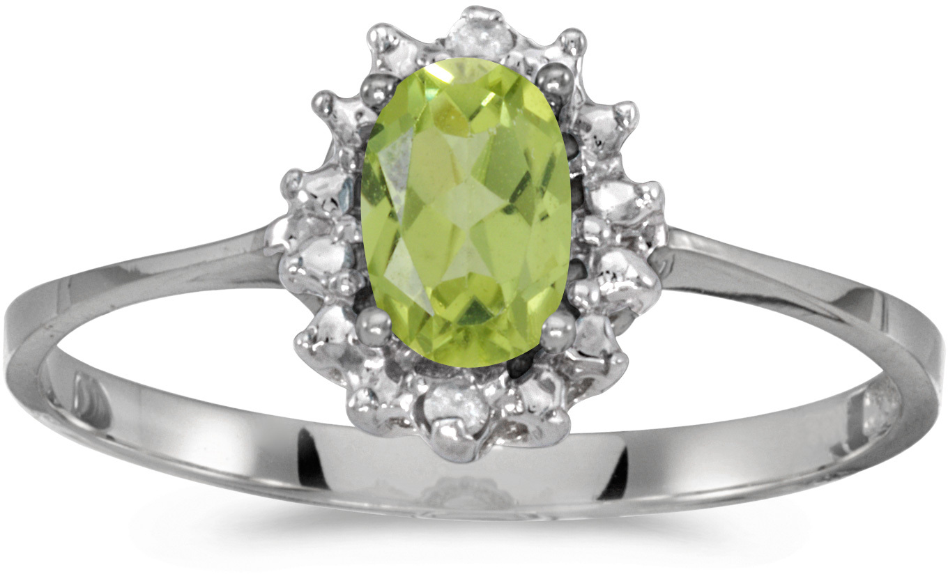 10k White Gold Oval Peridot And Diamond Ring (CM-RM1342W-08)