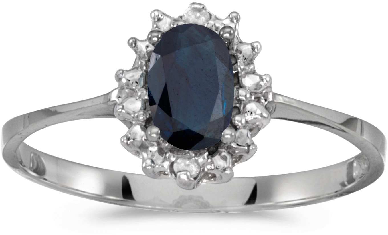 10k White Gold Oval Sapphire And Diamond Ring (CM-RM1342W-09)