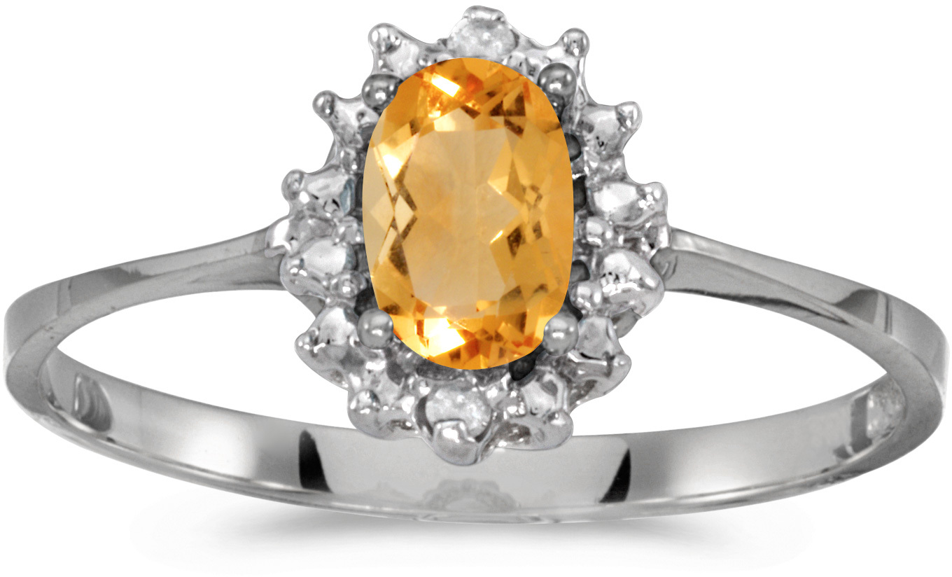 10k White Gold Oval Citrine And Diamond Ring (CM-RM1342W-11)