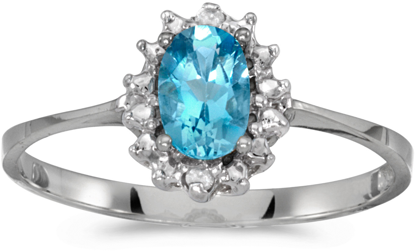 10k White Gold Oval Blue Topaz And Diamond Ring (CM-RM1342W-12)