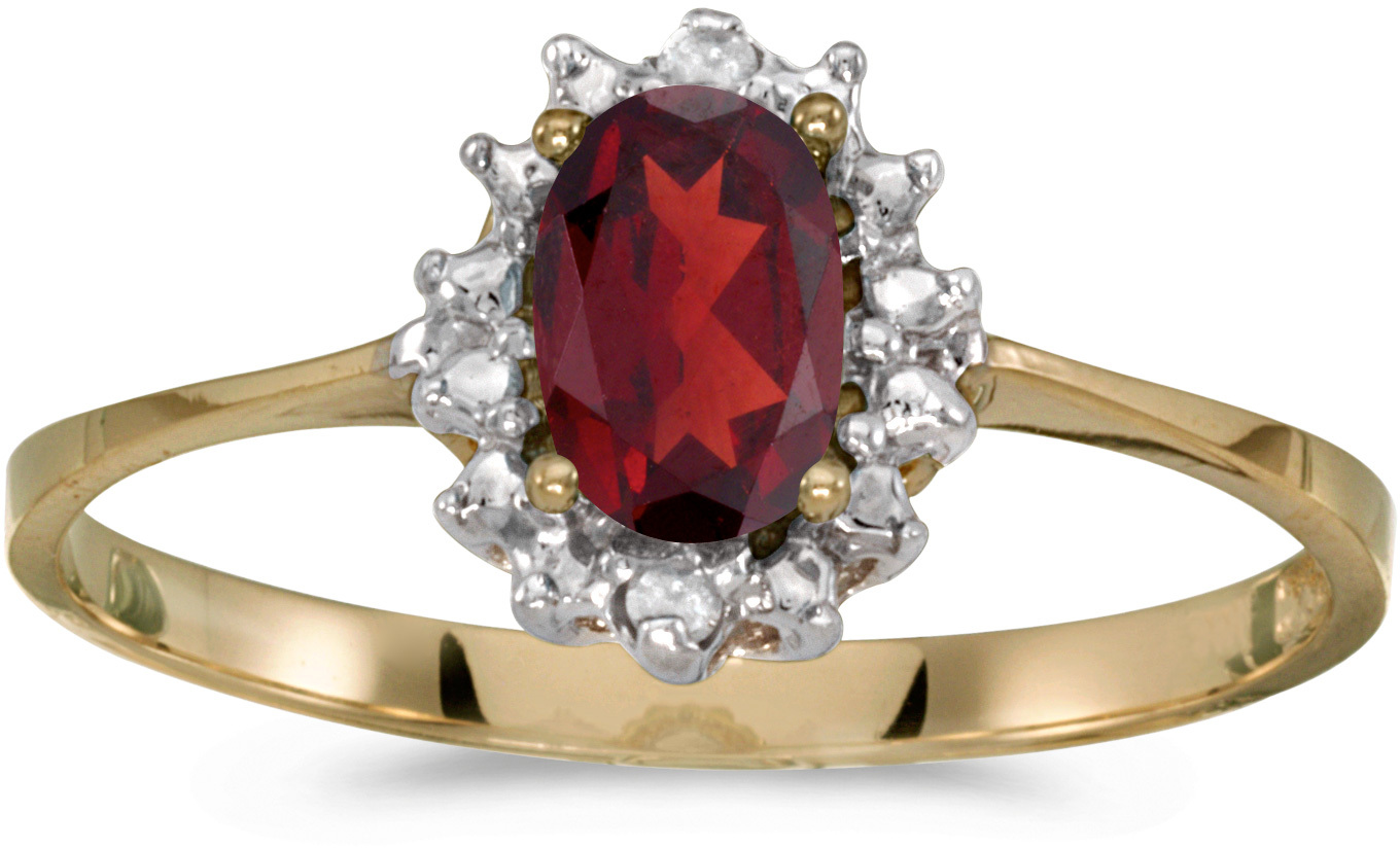 14k Yellow Gold Oval Garnet And Diamond Ring (CM-RM1342X-01)
