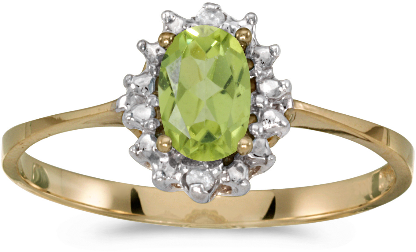 14k Yellow Gold Oval Peridot And Diamond Ring (CM-RM1342X-08)