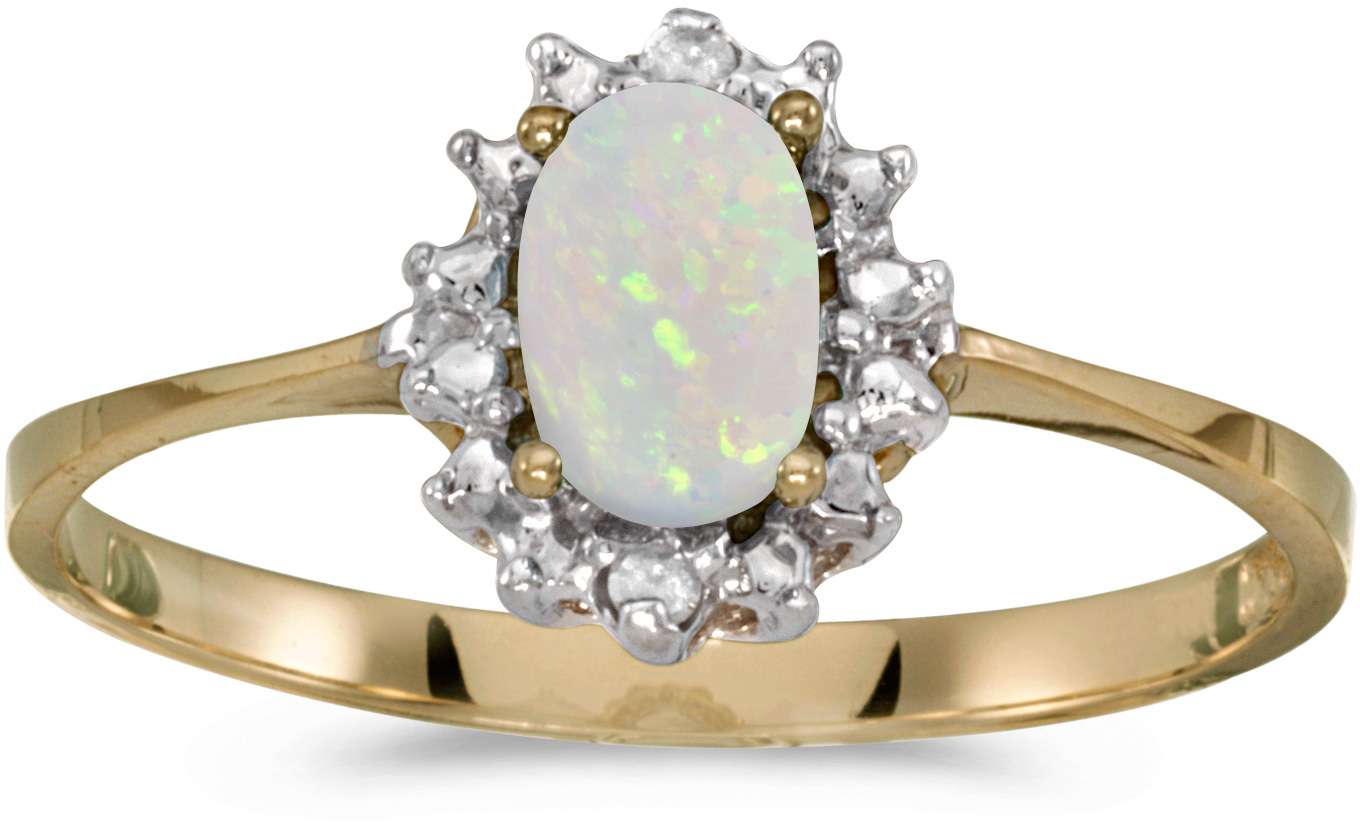14k Yellow Gold Oval Opal And Diamond Ring (CM-RM1342X-10)