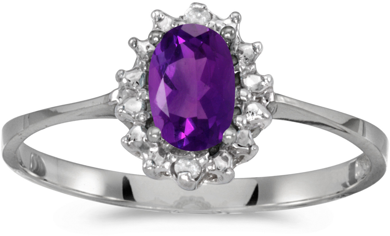 14k White Gold Oval Amethyst And Diamond Ring (CM-RM1342XW-02)