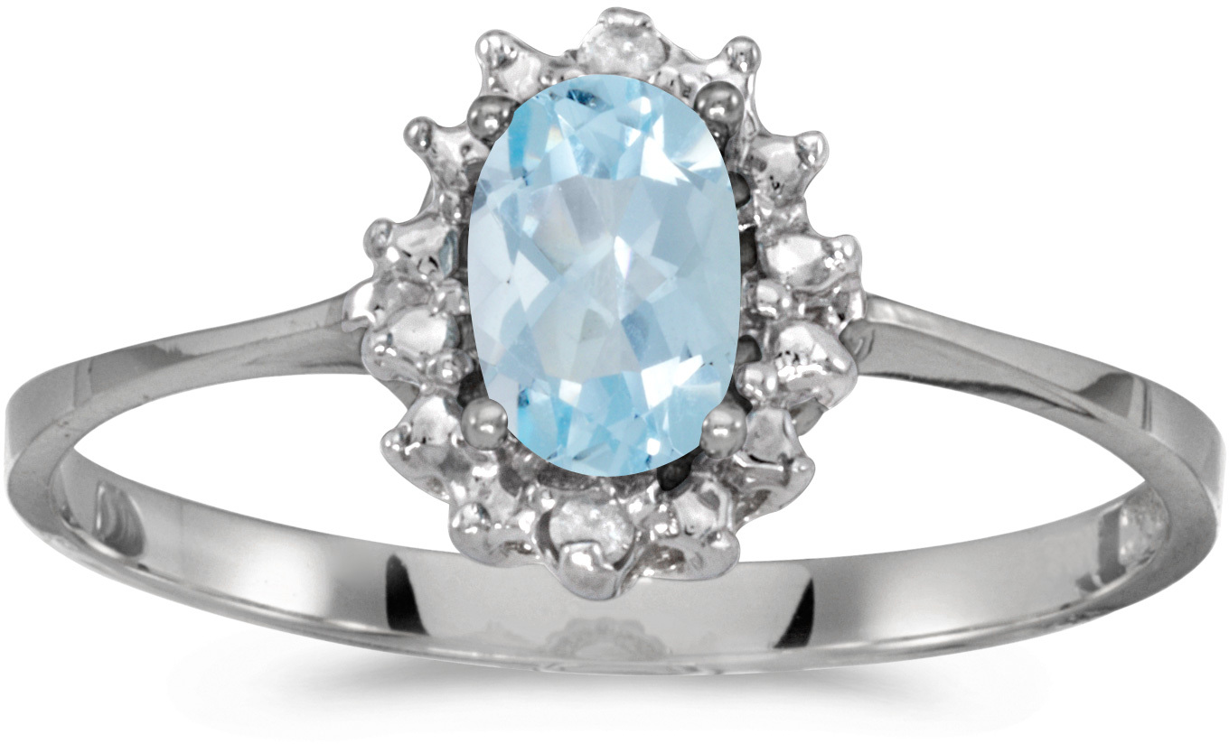 14k White Gold Oval Aquamarine And Diamond Ring (CM-RM1342XW-03)