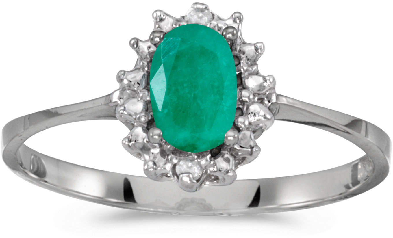 14k White Gold Oval Emerald And Diamond Ring (CM-RM1342XW-05)