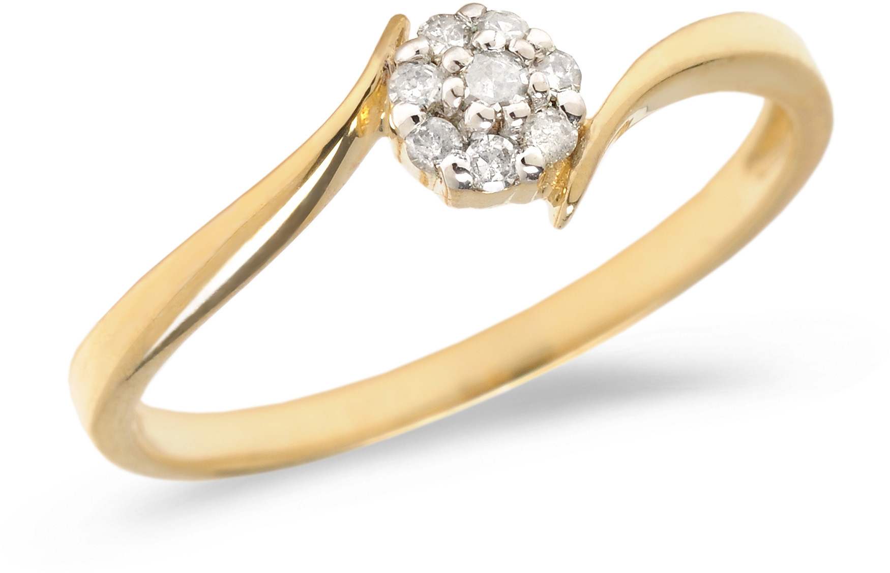 10K Yellow Gold Diamond Cluster Ring (CM-RM1407)