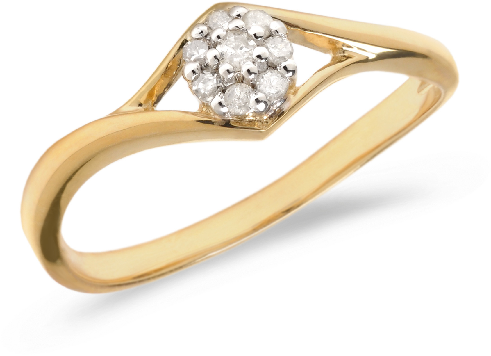 14K Yellow Gold Diamond Cluster Ring (CM-RM1408X)