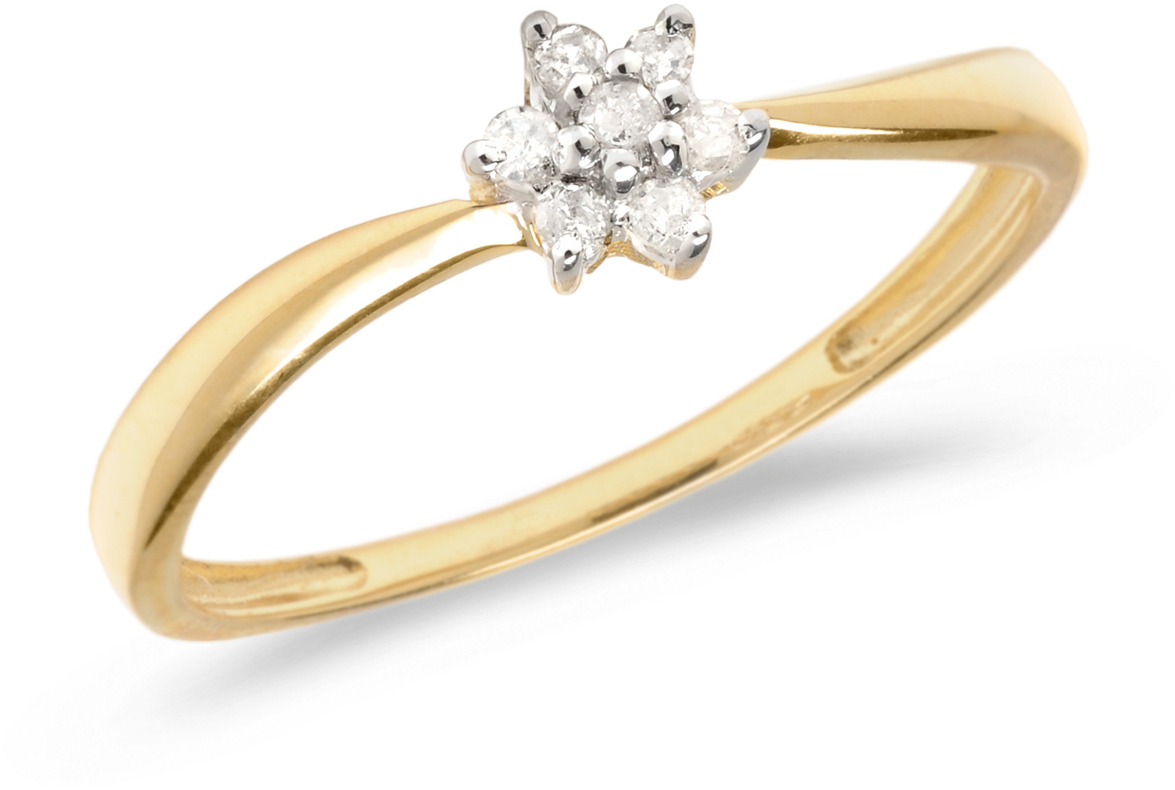 14K Yellow Gold Diamond Cluster Ring (CM-RM1411X)