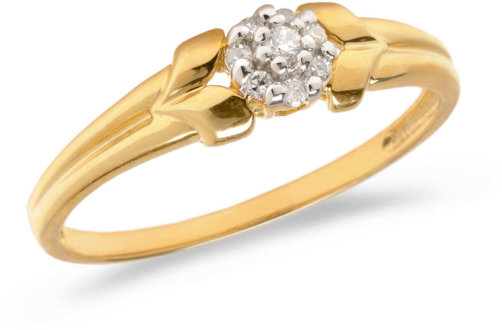 10K Yellow Gold Diamond Cluster Ring (CM-RM1412)