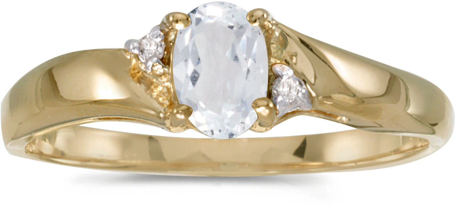 10k Yellow Gold Oval White Topaz And Diamond Ring (CM-RM1503-04)