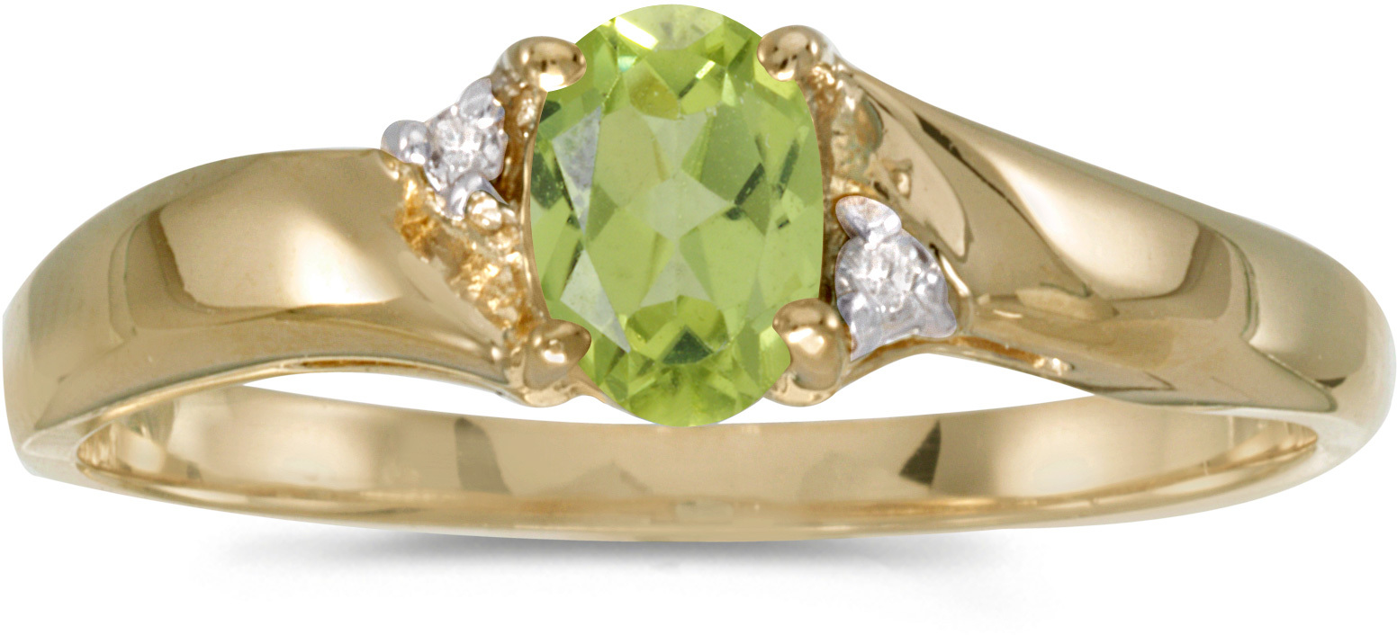 10k Yellow Gold Oval Peridot And Diamond Ring (CM-RM1503-08)