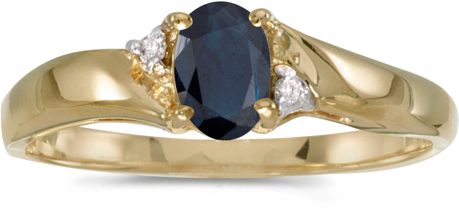 10k Yellow Gold Oval Sapphire And Diamond Ring (CM-RM1503-09)