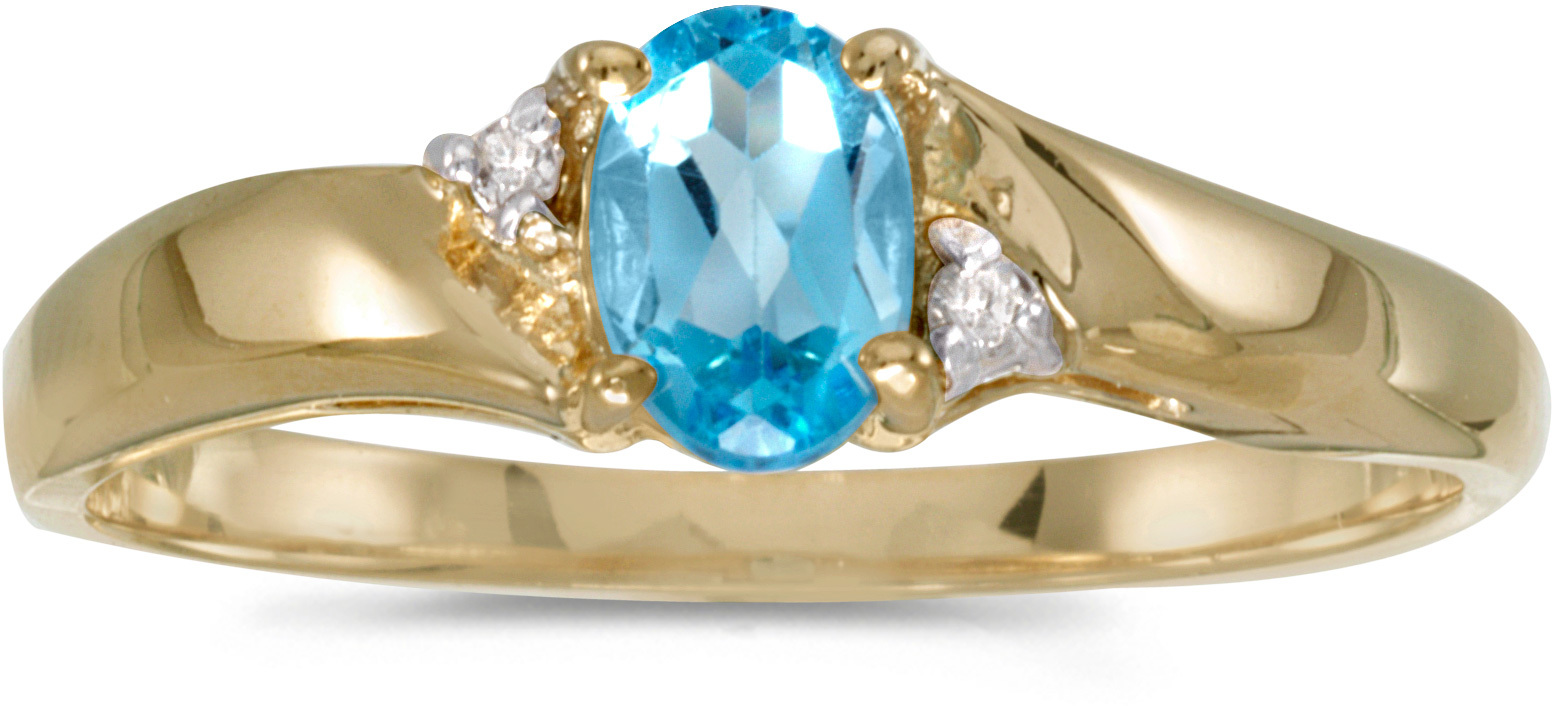 10k Yellow Gold Oval Blue Topaz And Diamond Ring (CM-RM1503-12)