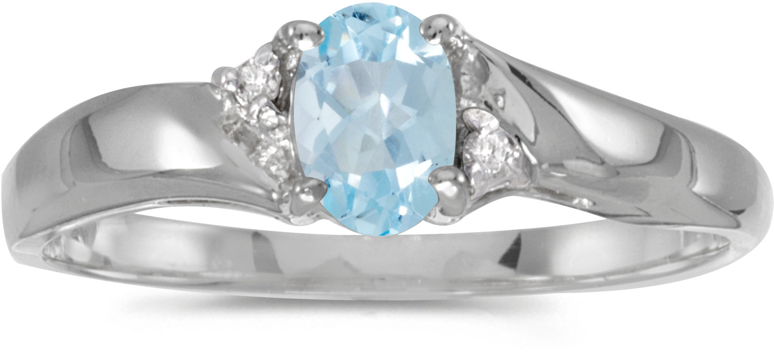 10k White Gold Oval Aquamarine And Diamond Ring (CM-RM1503W-03)