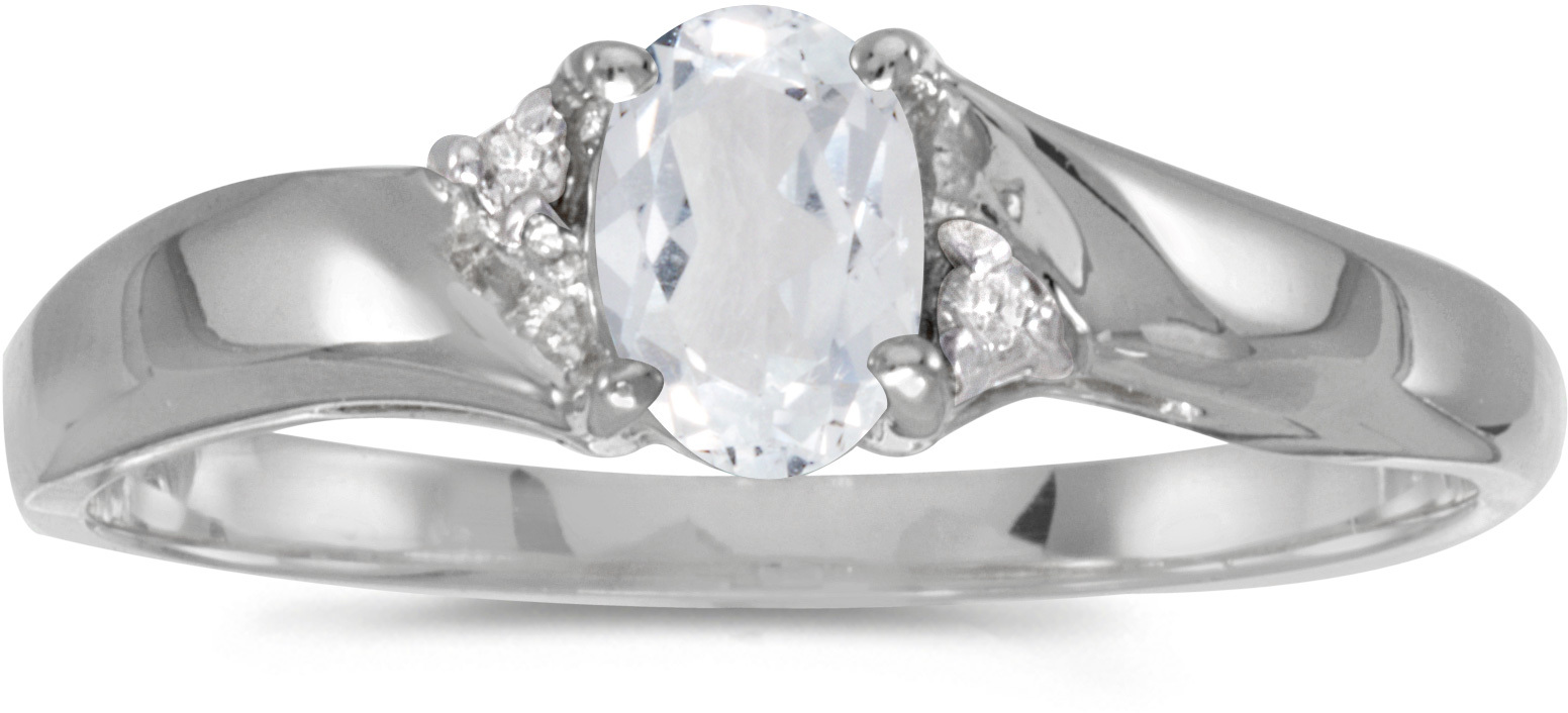 10k White Gold Oval White Topaz And Diamond Ring (CM-RM1503W-04)