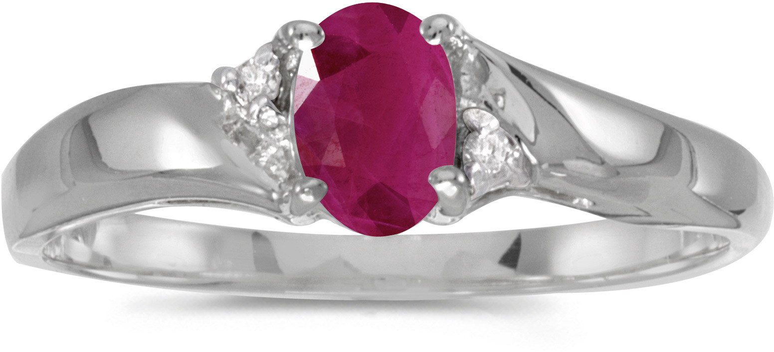 10k White Gold Oval Ruby And Diamond Ring (CM-RM1503W-07)