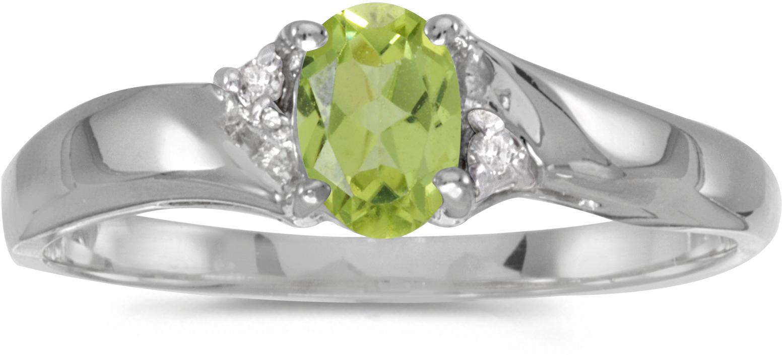 10k White Gold Oval Peridot And Diamond Ring (CM-RM1503W-08)