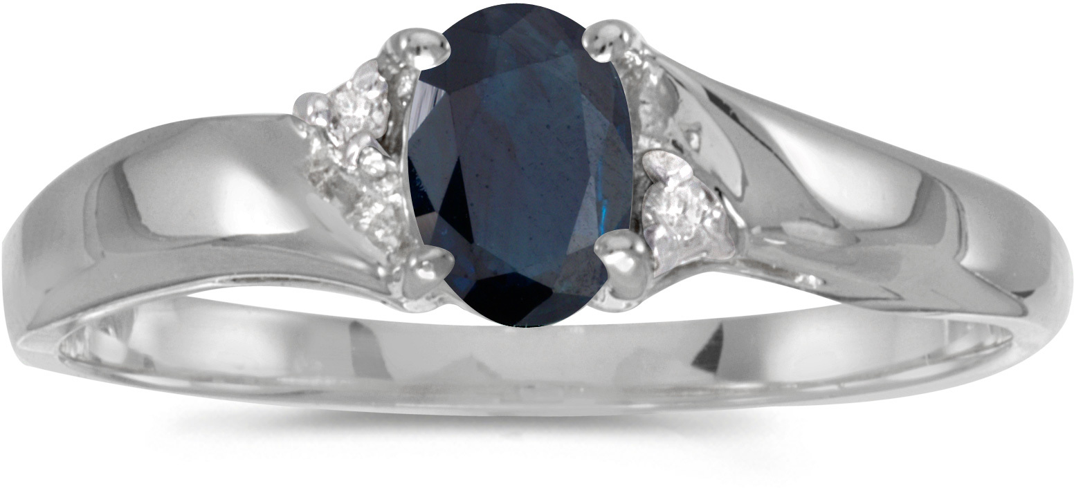 10k White Gold Oval Sapphire And Diamond Ring (CM-RM1503W-09)