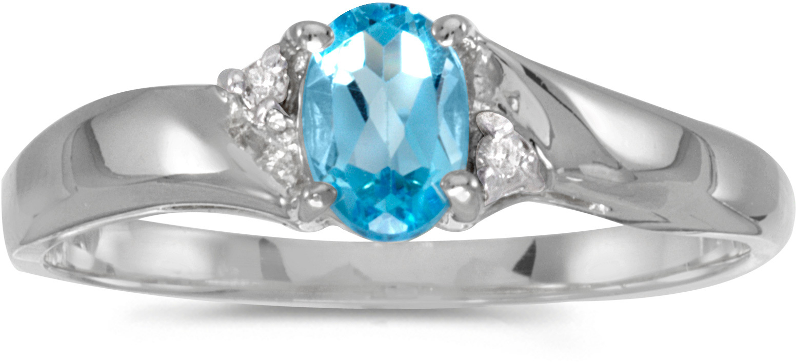 10k White Gold Oval Blue Topaz And Diamond Ring (CM-RM1503W-12)