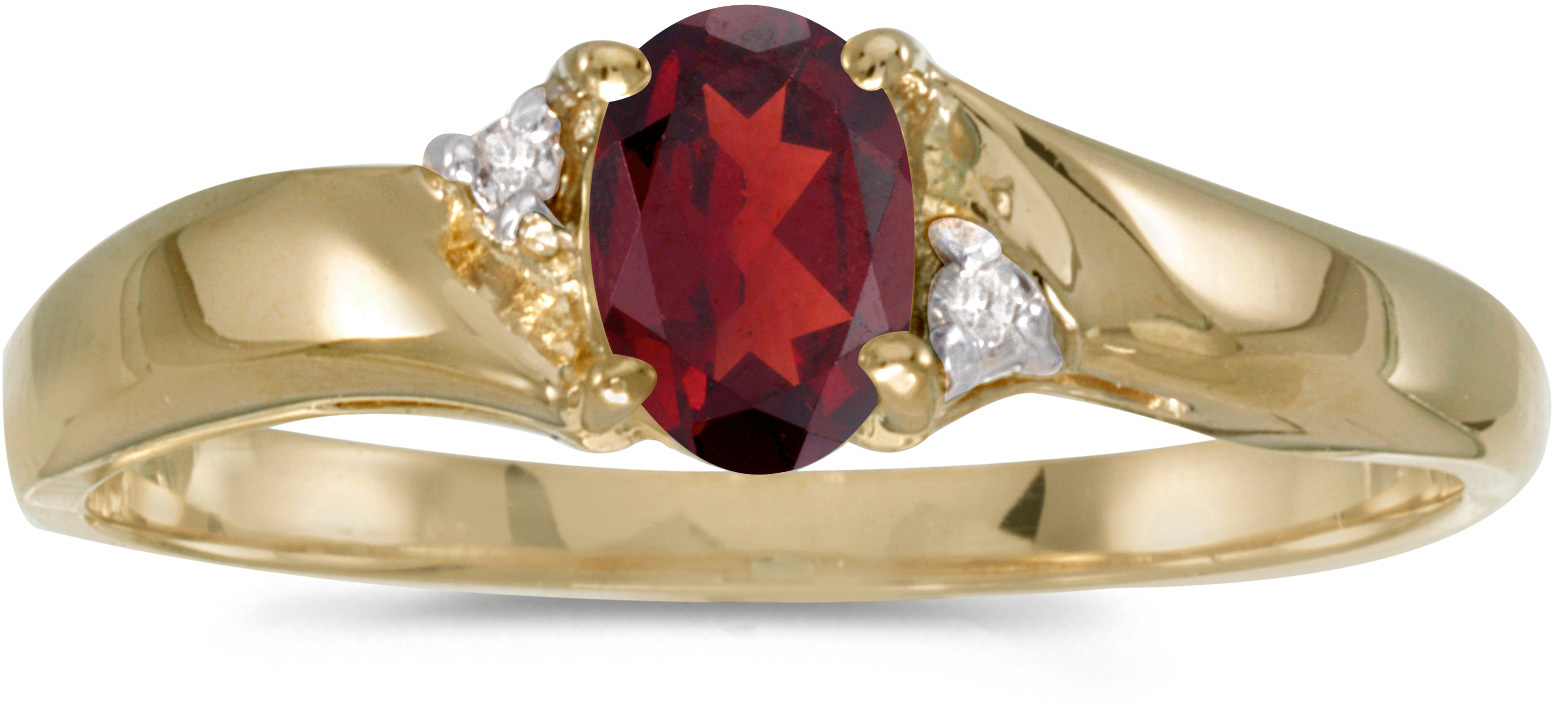14k Yellow Gold Oval Garnet And Diamond Ring (CM-RM1503X-01)