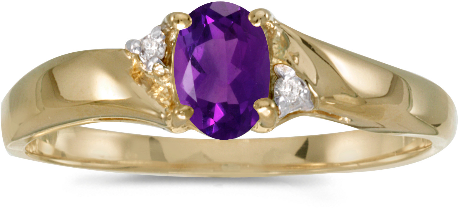 14k Yellow Gold Oval Amethyst And Diamond Ring (CM-RM1503X-02)