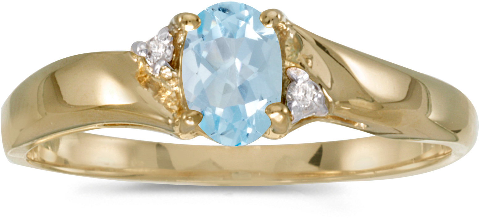 14k Yellow Gold Oval Aquamarine And Diamond Ring (CM-RM1503X-03)