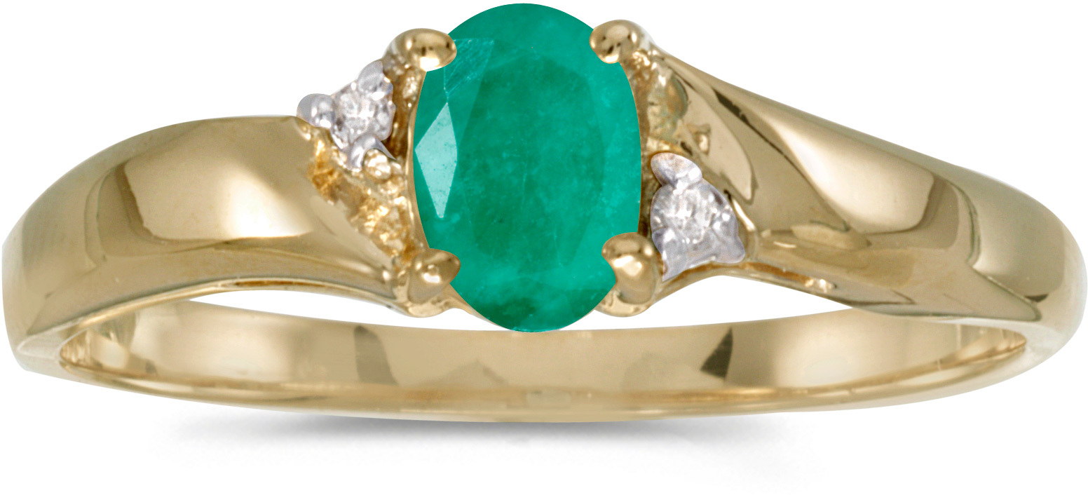 14k Yellow Gold Oval Emerald And Diamond Ring (CM-RM1503X-05)