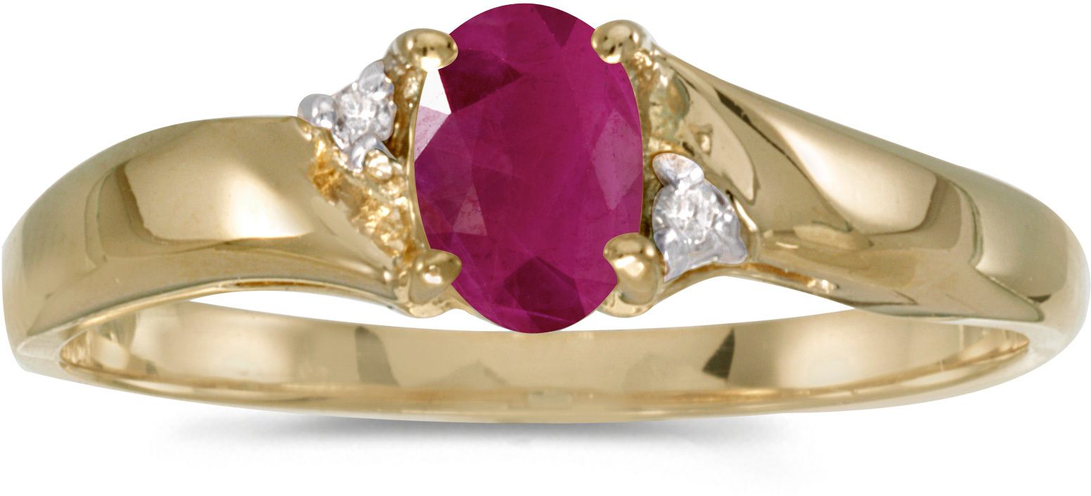 14k Yellow Gold Oval Ruby And Diamond Ring (CM-RM1503X-07)