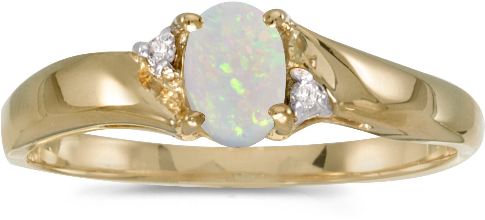 14k Yellow Gold Oval Opal And Diamond Ring (CM-RM1503X-10)