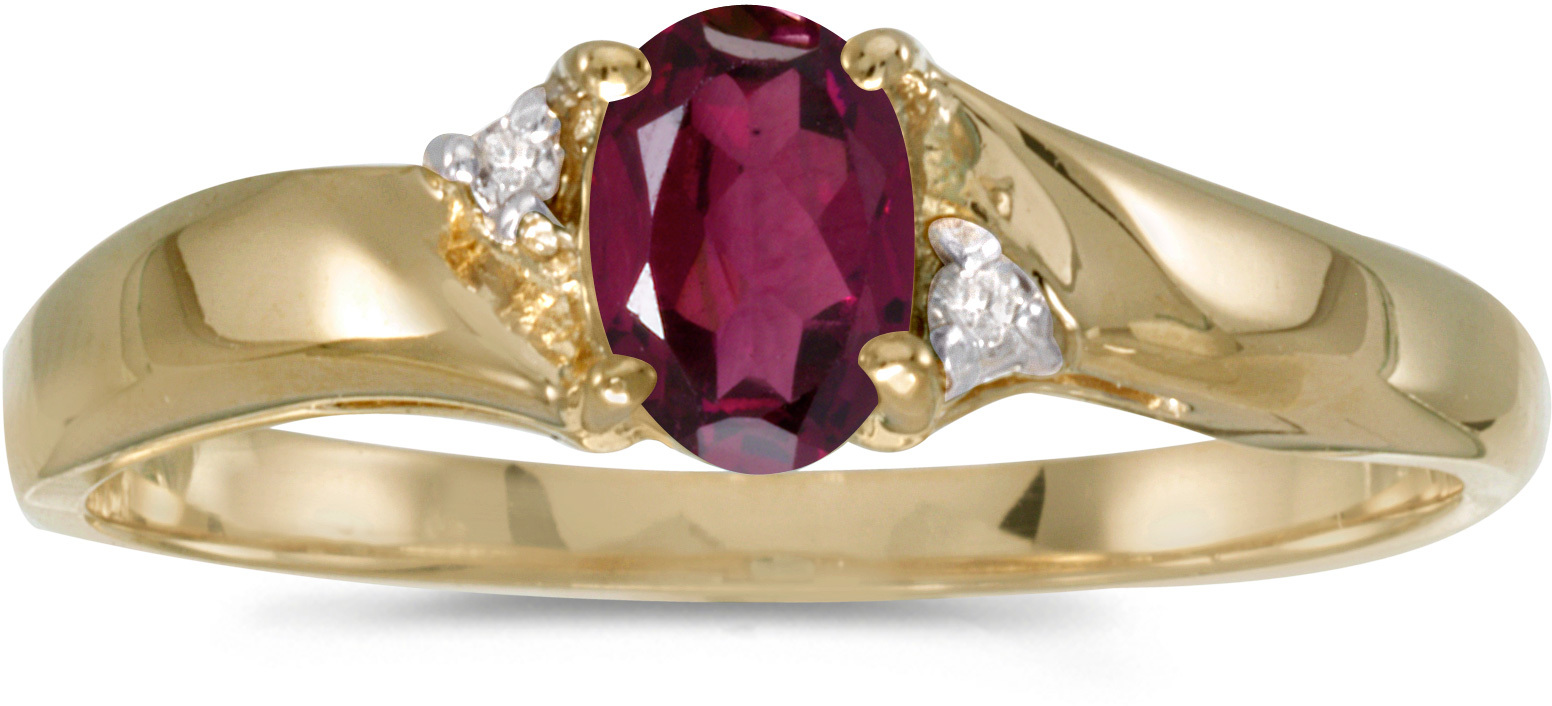 14k Yellow Gold Oval Rhodolite Garnet And Diamond Ring (CM-RM1503X-RG)