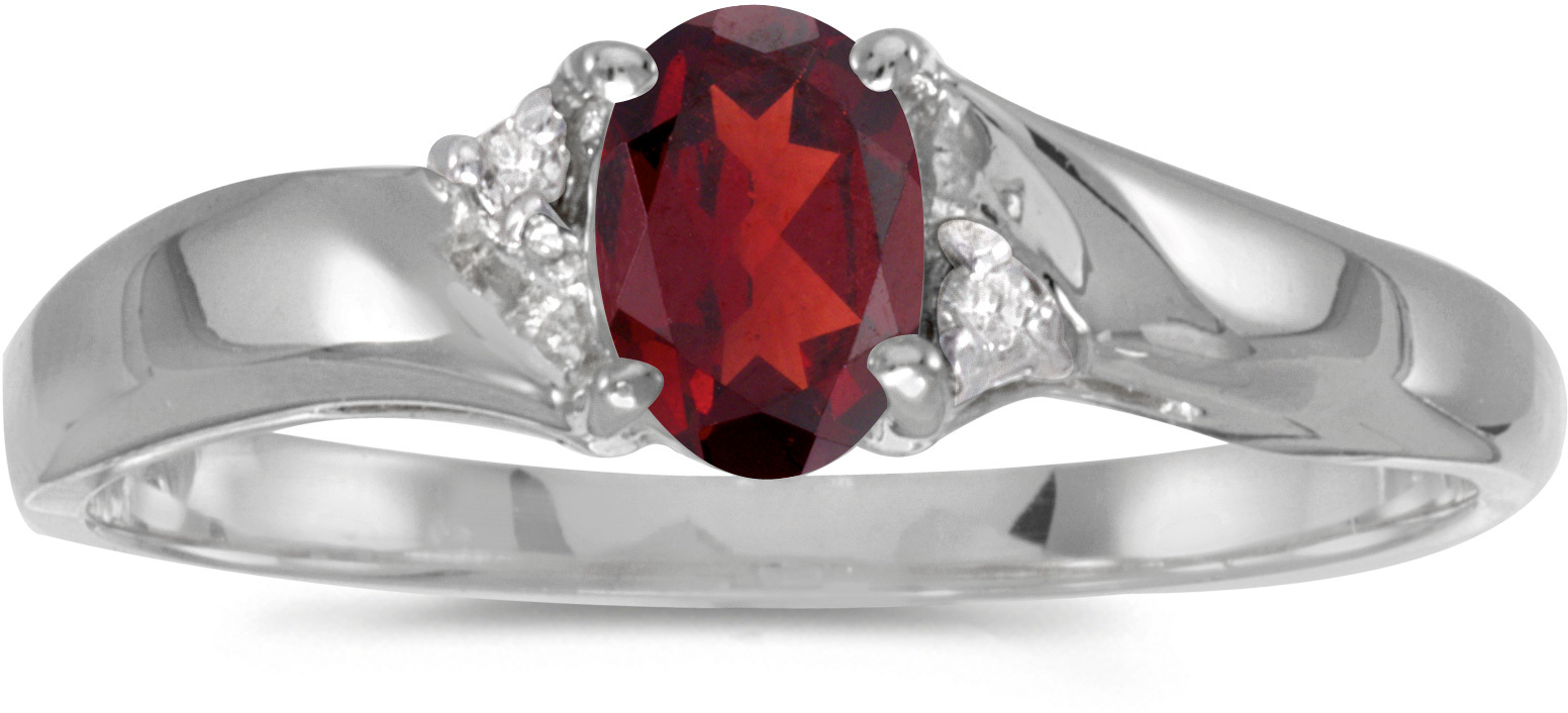 14k White Gold Oval Garnet And Diamond Ring (CM-RM1503XW-01)