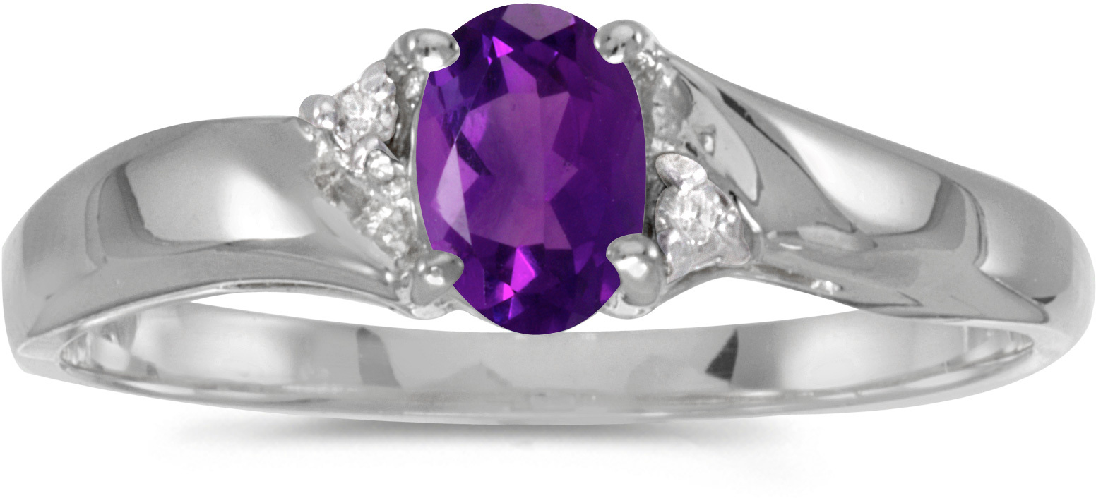 14k White Gold Oval Amethyst And Diamond Ring (CM-RM1503XW-02)