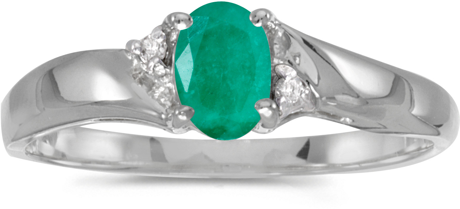 14k White Gold Oval Emerald And Diamond Ring (CM-RM1503XW-05)
