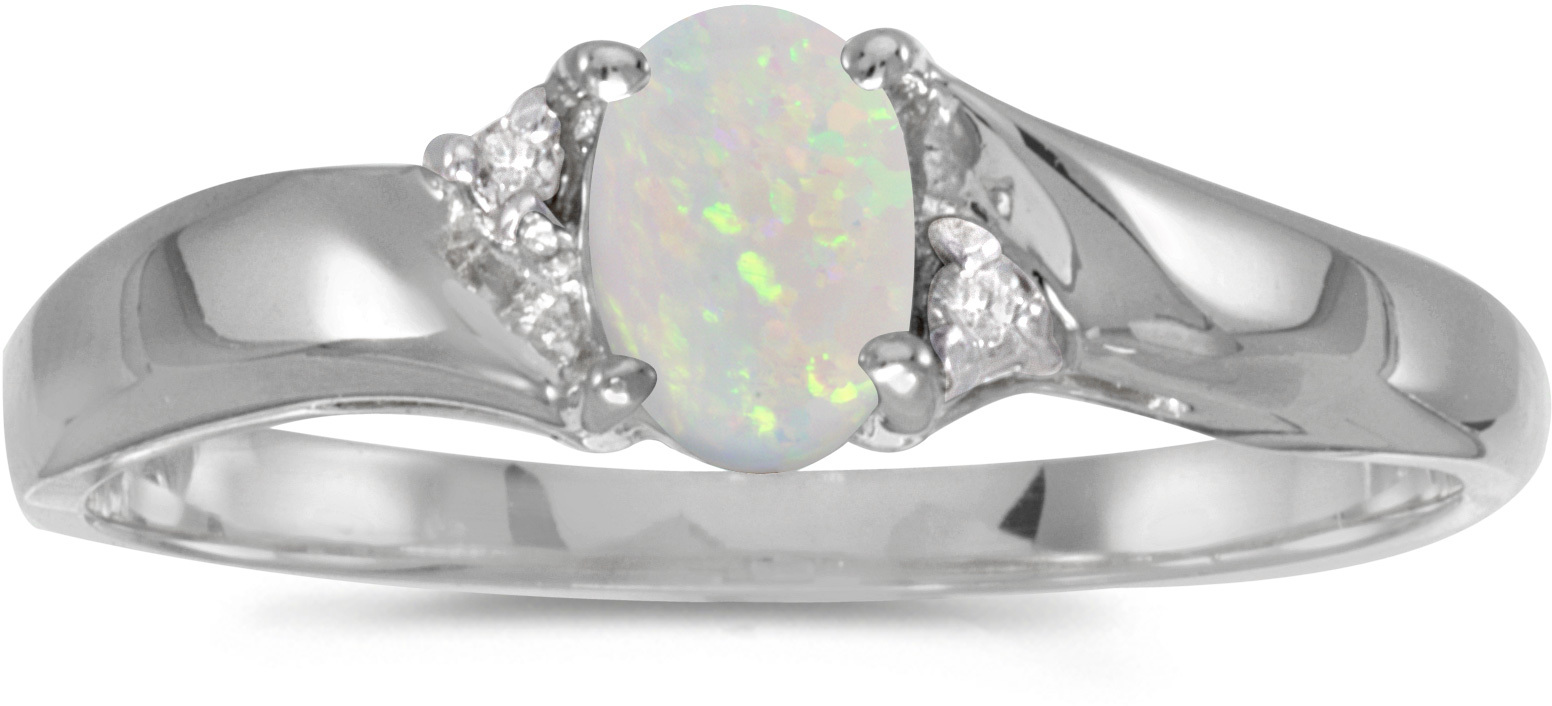 14k White Gold Oval Opal And Diamond Ring (CM-RM1503XW-10)
