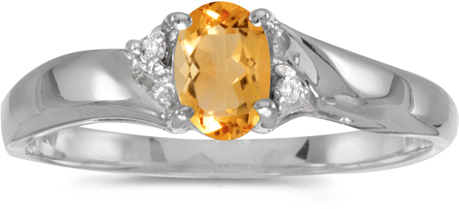 14k White Gold Oval Citrine And Diamond Ring (CM-RM1503XW-11)