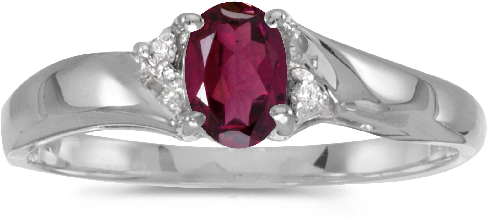 14k White Gold Oval Rhodolite Garnet And Diamond Ring (CM-RM1503XW-RG)