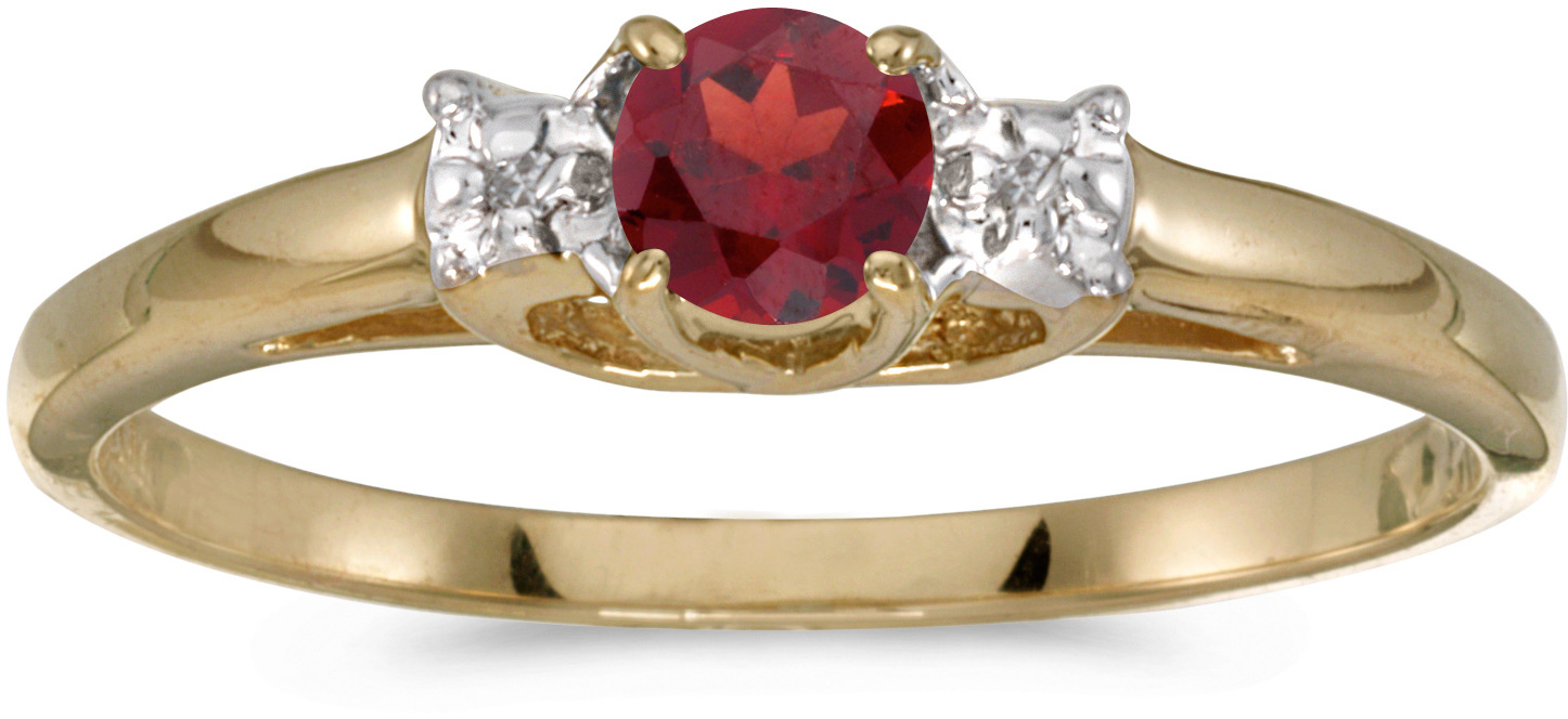 10k Yellow Gold Round Garnet And Diamond Ring (CM-RM1575-01)