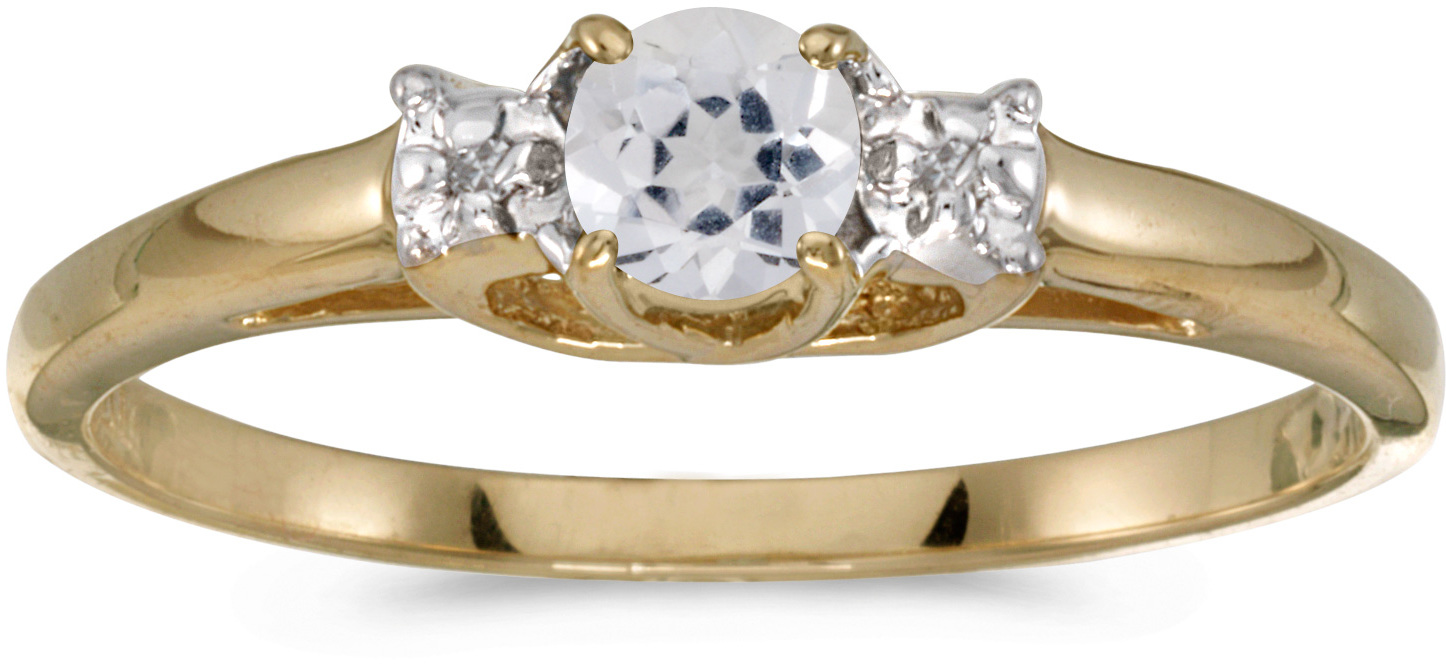 10k Yellow Gold Round White Topaz And Diamond Ring (CM-RM1575-04)