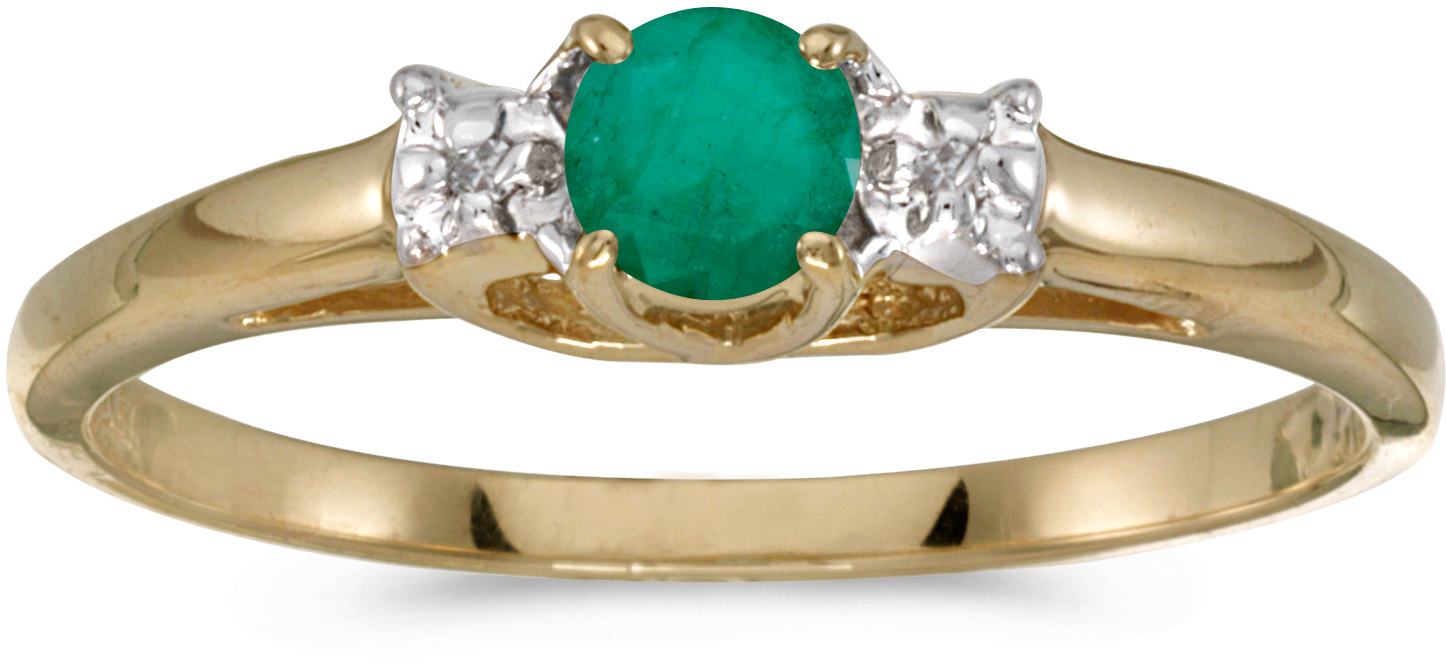 10k Yellow Gold Round Emerald And Diamond Ring (CM-RM1575-05)