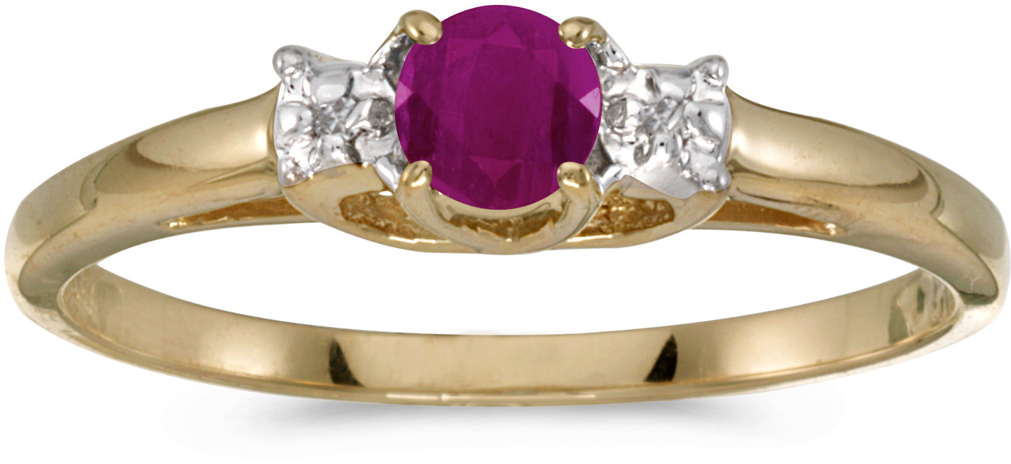 10k Yellow Gold Round Ruby And Diamond Ring (CM-RM1575-07)