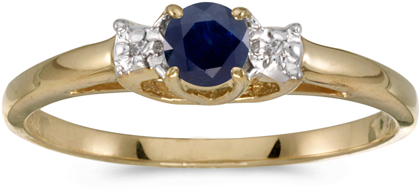10k Yellow Gold Round Sapphire And Diamond Ring (CM-RM1575-09)