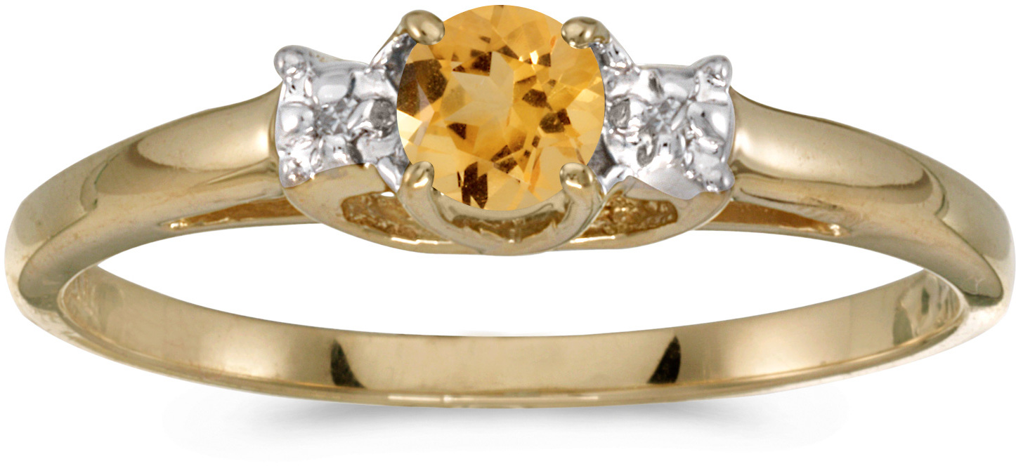 10k Yellow Gold Round Citrine And Diamond Ring (CM-RM1575-11)